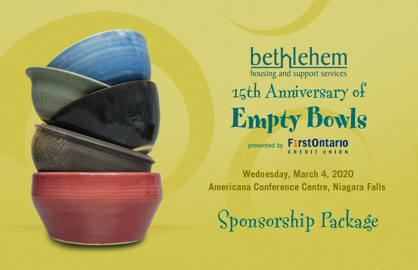 Sponsor Package, 15th Empty Bowls Niagara
